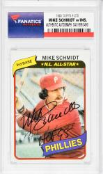 Mike Schmidt Philadelphia Phillies Autographed 1980 Topps #270 Card with HOF 95 Inscription - Mounted Memories  - Mounted Memories