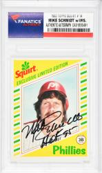 Mike Schmidt Philadelphia Phillies Autographed 1982 Topps Squirt #14 Card with HOF 95 Inscription - Mounted Memories
