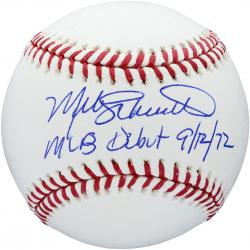 Mike Schmidt Philadelphia Phillies Autographed Baseball with MLB Debut 9/12/72 Inscription - Mounted Memories