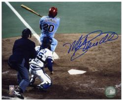 Mike Schmidt Philadelphia Phillies Autographed 8'' x 10'' Blue Signature Hit Photograph - Mounted Memories