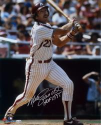 Mike Schmidt Philadelphia Phillies Autographed 16'' x 20'' White Pinstripes Hitting Photograph with HOF 1995 Inscription - Mounted Memories