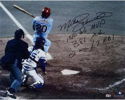 "Mike Schmidt Philadelphia Phillies Autographed 16"" x 20"" Home Run Shot Photograph with Multiple Inscriptions-#2-19 of Limited Edition of 20"