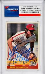 Mike Schmidt Philadelphia Phillies Autographed 1984 Donruss #183 Card with 10x Gold Glove Inscription