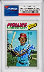 Mike Schmidt Philadelphia Phillies Autographed 1977 Topps #140 Card with 548 HR Inscription - Mounted Memories