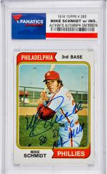 Mike Schmidt Philadelphia Phillies Autographed 1974 Topps #283 Card with 80,81,86 NL MVP Inscription