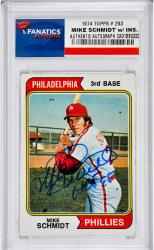 Mike Schmidt Philadelphia Phillies Autographed 1974 Topps #283 Card with HOF 95 Inscription - Mounted Memories