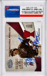 Mike Schmidt Philadelphia Phillies Autographed 2004 Leaf #80 Card with 10x Gold Glove Inscription