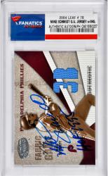 Mike Schmidt Philadelphia Phillies Autographed 2004 Leaf #78 Card with HOF 1995 Inscription