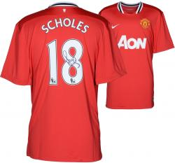 Paul Scholes Autographed Jersey - Home Red Back Mounted Memories Mounted Memories