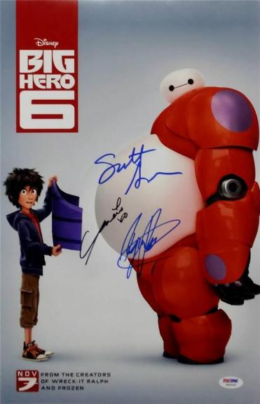 Scott Adsit Ryan Potter Genesis Rodriguez Signed Big Hero 6 11x17 Photo PSA/DNA