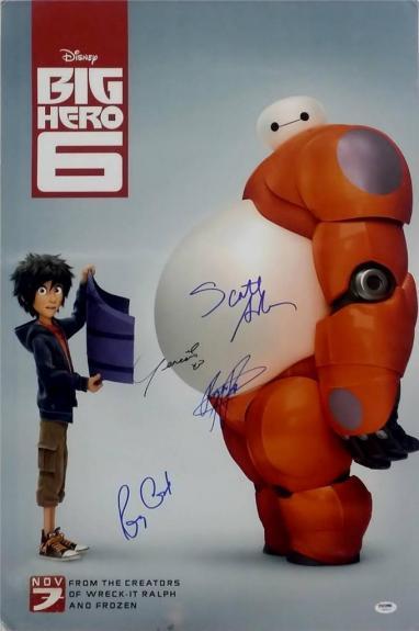Scott Adsit Ryan Potter Genesis Rodriguez Signed Big Hero 6 20x30 Photo PSA LOA