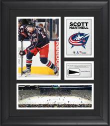 """Scott Hartnell Columbus Blue Jackets Framed 15"""" x 17"""" Collage with Piece of Game-Used Puck"""