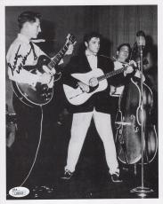 SCOTTY MOORE HAND SIGNED 8x10 PHOTO        ON STAGE WITH ELVIS PRESLEY       JSA