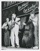 SCOTTY MOORE HAND SIGNED 8x10 PHOTO       RARE POSE WITH ELVIS PRESLEY       JSA