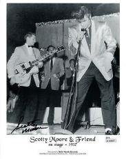 SCOTTY MOORE HAND SIGNED 8x10 PHOTO+JSA       ON STAGE WITH ELVIS PRESLEY 1957