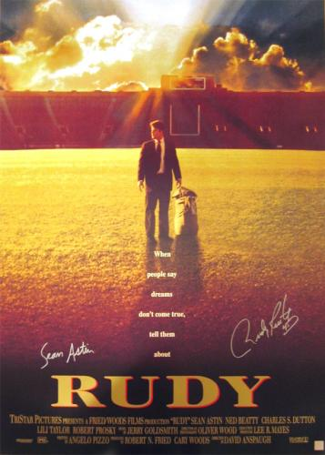Sean Astin & Rudy Ruetigger Signed Rudy Movie Poster