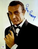 "Sean Connery Autographed 11""x 14"" Goldfinger James Bond Black Gun & Black Tux  Photograph - PSA/DNA LOA"
