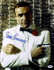 "Sean Connery Autographed 11""x 14"" Goldfinger James Bond Silver Gun & White Tux  Photograph - PSA/DNA LOA"