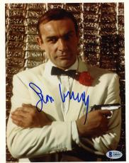 "Sean Connery Autographed 8"" x 10"" James Bond Holding Gun Photograph - BAS COA"