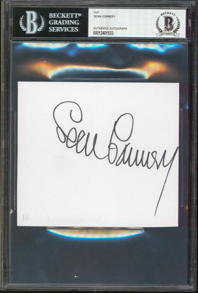 Sean Connery James Bond 007 Signed 4.5x5 Cut Signature BAS Slabbed
