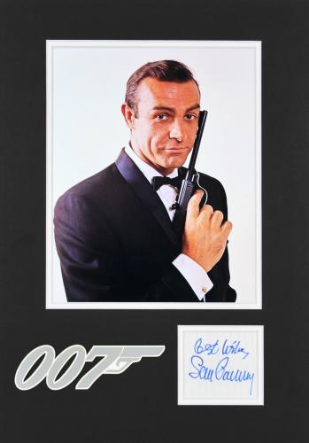 "Sean Connery James Bond ""Best Wishes"" Signed 3x3 Matted Cut Signature BAS A82486"