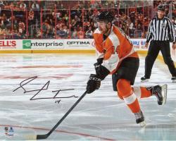 "Sean Couturier Philadelphia Flyers Autographed Orange Jersey Skating 8"" x 10"" Photograph"