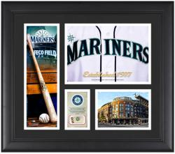 Seattle Mariners Team Logo Framed 15 x 17 Collage with Piece of Game-Used Ball