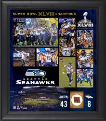 Seattle Seahawks Super Bowl XLVIII Champions Framed 15x17 Collage with Game-Used Ball