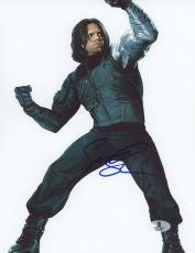 "Sebastian Stan Autographed 8"" x 10"" Fighting Pose Photograph - Beckett COA"