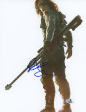 "Sebastian Stan Autographed 8"" x 10"" Holding Weapon White Photograph - Beckett COA"