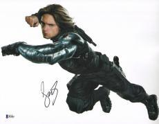 Sebastian Stan Signed 11x14 Photo BAS Beckett COA Captain America Bucky Barnes