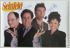 Seinfeld Cast (4) Signed Authentic Autographed 24x36 Poster PSA/DNA #X02493