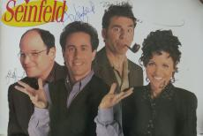 Seinfeld Cast (4) Signed Authentic Autographed 24x36 Poster PSA/DNA #X02494