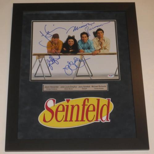 Seinfeld Cast Signed 11x14 Photo Jerry Seinfeld Professionally Framed Psa Loa