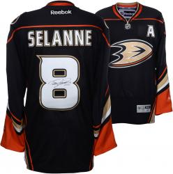 Teemu Selanne Anaheim Ducks Autographed Black Alternate Reebok Jersey - Mounted Memories