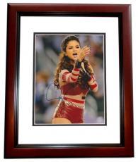 Selena Gomez Autographed Sexy Concert 8x10 Photo MAHOGANY CUSTOM FRAME