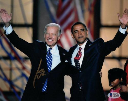 President Joe Biden Signed Autograph 8x10 Photo W/ Barack Obama Rare Beckett