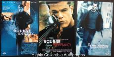 Set Of 3 Matt Damon Signed 12x18 Photos Autograph Psa Dna Coa Bourne Trilogy