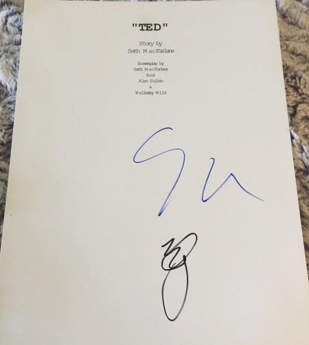 "Seth Macfarlane And Mark Wahlberg Signed Autograph ""ted"" Movie Script Coa"