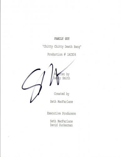 Seth MacFarlane Signed Autograph FAMILY GUY Chitty Chitty Death Bang Script VD