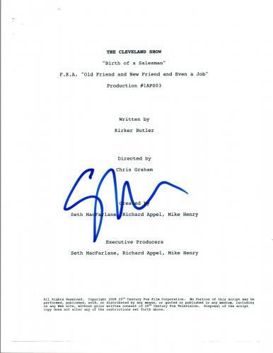 Seth MacFarlane Signed Autographed THE CLEVELAND SHOW Episode Script COA