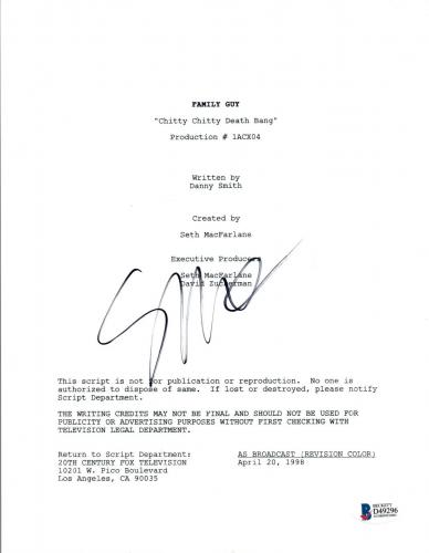 Seth MacFarlane Signed FAMILY GUY Chitty Chitty Death Bang Script BAS COA