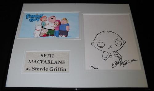 Seth Macfarlane Signed Framed 16x20 Stewie Griffin Sketch Display 186/300