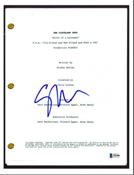 Seth MacFarlane Signed The Cleveland Show Birth of a Salesman Script Beckett COA