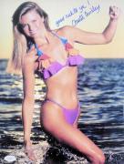 SEXY Christie Brinkley Signed Swimsuit 11X14 Photo JSA