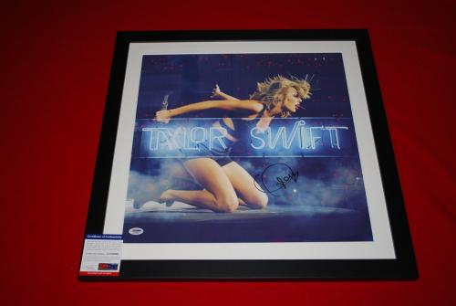 sexy TAYLOR SWIFT signed framed 22x22 lithograph psa/dna 1989 live neon