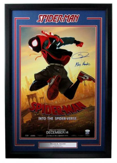 Shameik Moore Actor Signed/Inscribed Spider-Man 16x24 Poster Framed JSA 158412
