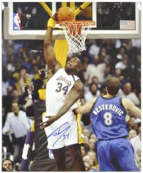 """Shaquille O'Neal Los Angeles Lakers Autographed 16"""" x 20"""" Dunk Photograph"""