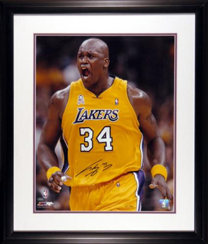"""Shaquille O'Neal Miami Heat Framed Autographed 16"""" x 20"""" Attitude Photograph"""