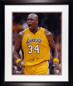 "Shaquille O'Neal Miami Heat Framed Autographed 16"" x 20"" Attitude Photograph"